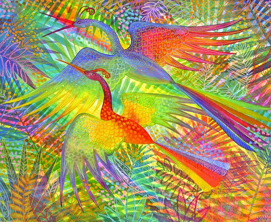 Exotic Birds Rain Forest Rainbow Colours Jungle Tropical  Painting - Flight Of Colour And Bliss by Jennifer Baird