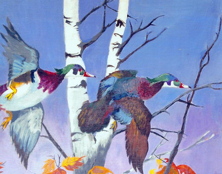 Wood Ducks Painting - Flight of Fancy by Jason Girard
