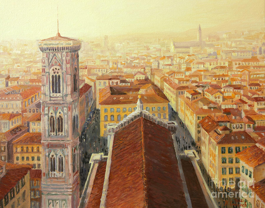 Aerial Painting - Flight Over Florence by Kiril Stanchev