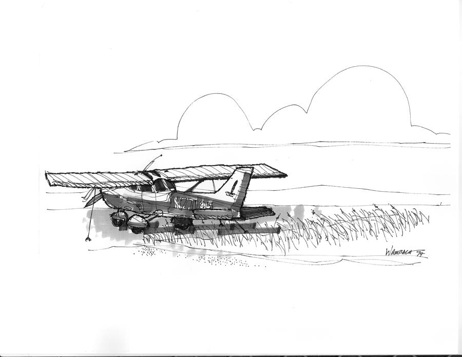 Airplanes Drawing - Flights To Ocracoke 1970s by Richard Wambach