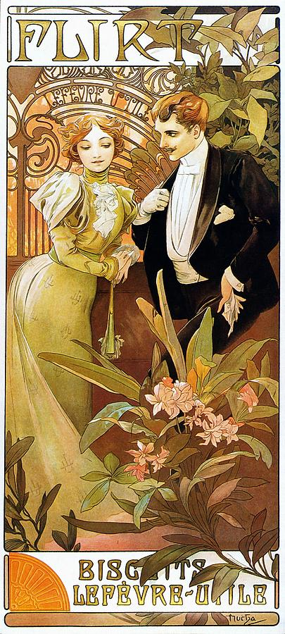 Flirt Painting By Alphonse Mucha