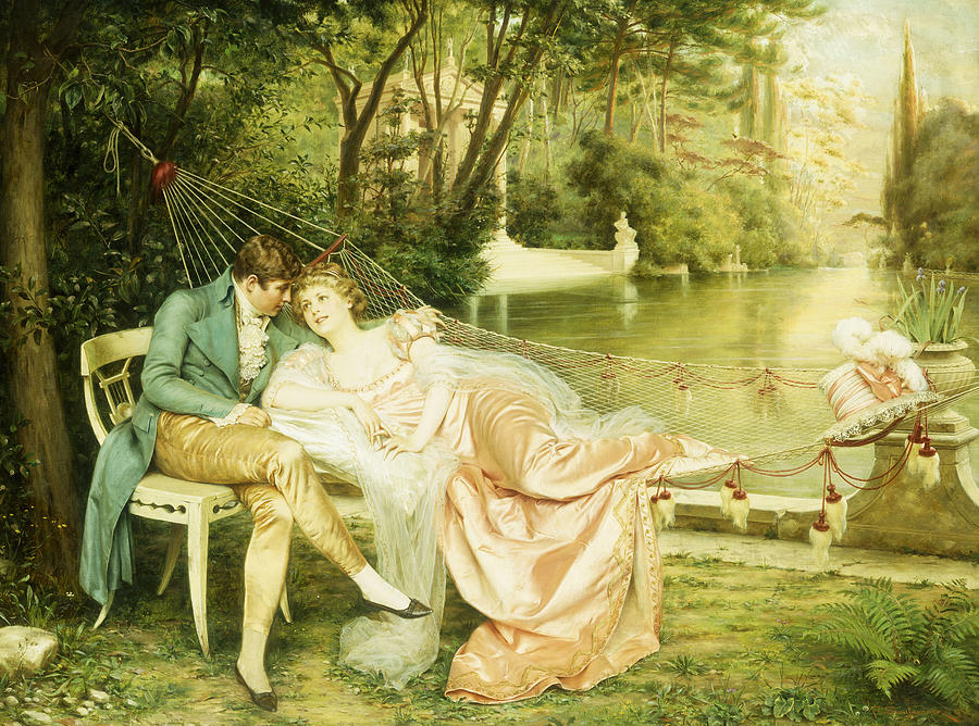 Flirtation; Flirting; Male; Female; Couple; Garden; Hammock; River; Lake; Leisure; Relaxing; Relaxed; Seated; Reclining; Amorous; Lovers; Love; Adoration; Adoring; Embrace; Affair; Silk; Dress; Traditional; Costume; Attire; Romance; Romantic; Formal; Gardens; Tailcoat; Happy; Happiness; Courting; 19th; Satin; Greenery; Outdoors; Outside Painting - Flirtation  by Joseph Frederick Charles Soulacroix