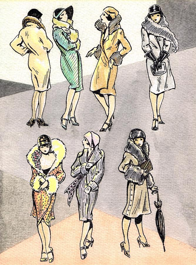 Nostalgia Drawing - Flirty Flappers by Mel Thompson