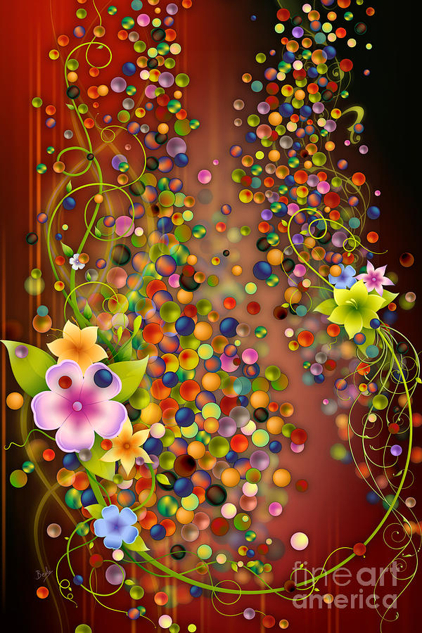 Floating Digital Art - Floating Fragrances - Red Version by Bedros Awak