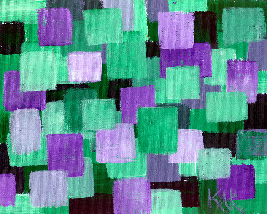 Abstract Painting - Floating Green And Purple Squares by Art by Kar