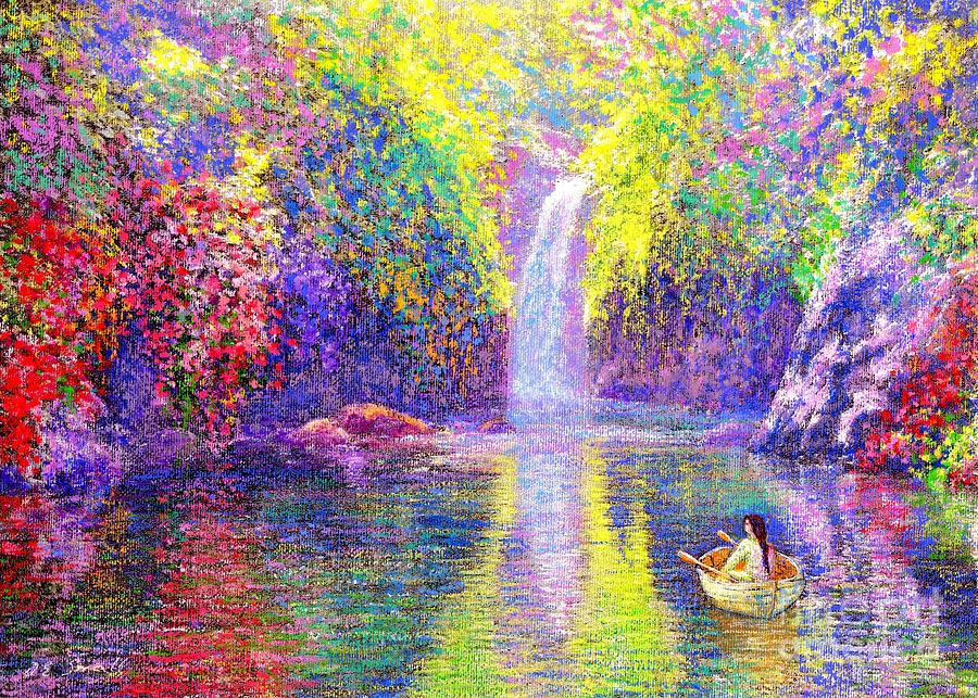 Waterfall Painting - Floating by Jane Small