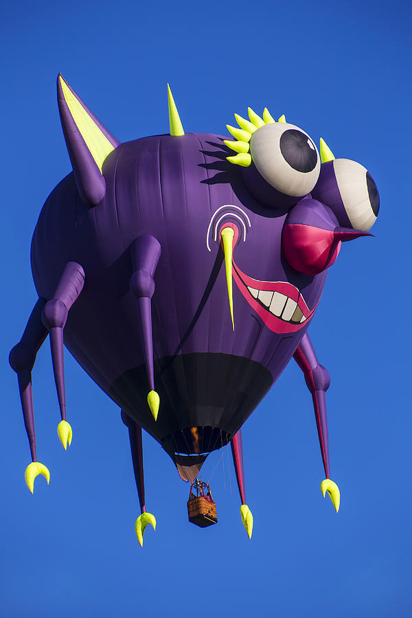 Purple People Eater Hot Air Balloon Photograph - Floating Purple People Eater by Garry Gay