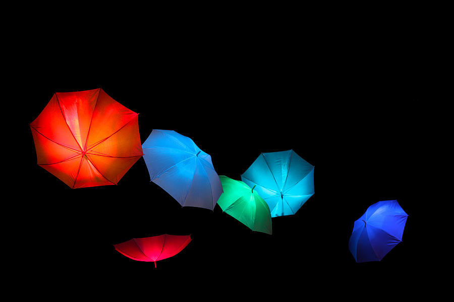 Umbrella Photograph - Floating Umbrellas  by James Hammen