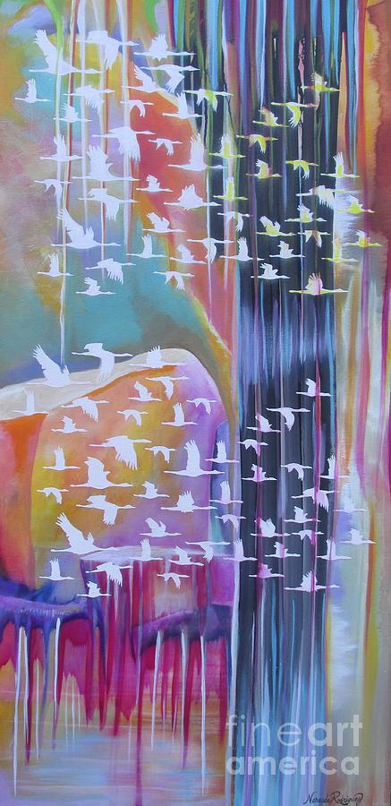 Cranes Painting - Flock Of Cranes by Nereida Rodriguez
