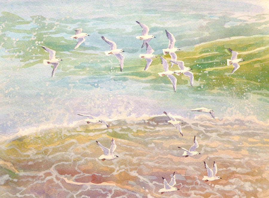 Flock Of Seagulls Flying Over Waves Painting By Gill