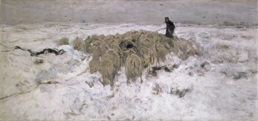 Shepherd Painting - Flock Of Sheep In The Snow by Anton Mauve