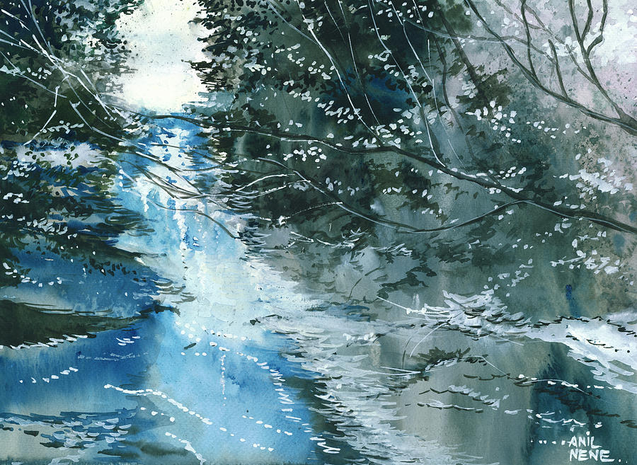 Nature Painting - Floods 3 by Anil Nene