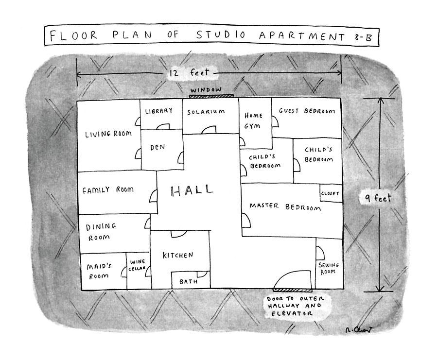 Floor Plan Of Studio Apartment R-b by Roz Chast