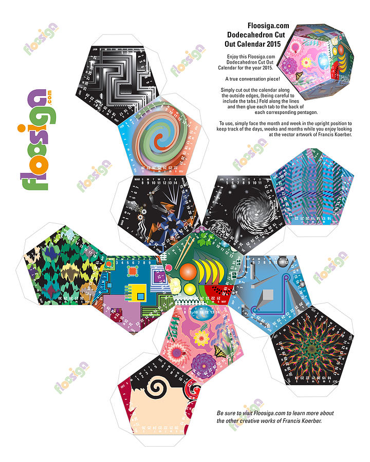 Calendar Digital Art - Floosiga Dodecahedron Cut Out Calendar 2015 by Francis Koerber