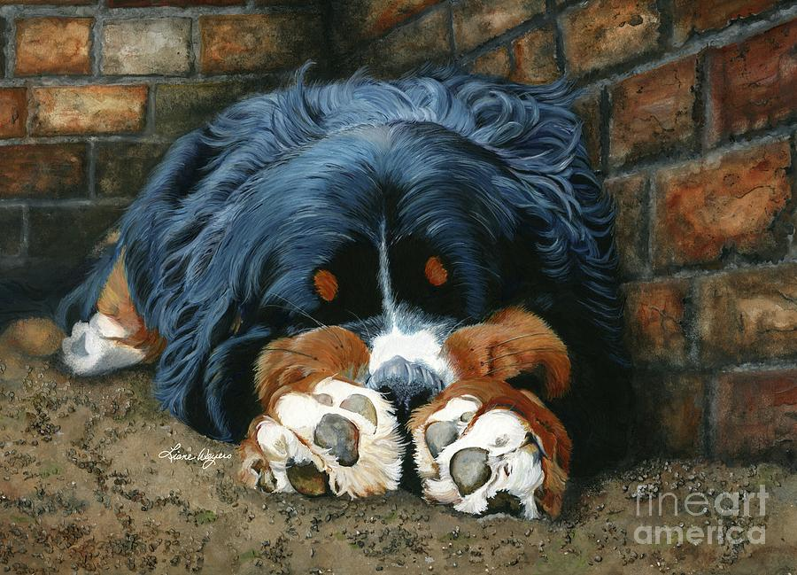 Bernese Painting - Flop Those Lips Fast Asleep Extra Ventilation by Liane Weyers