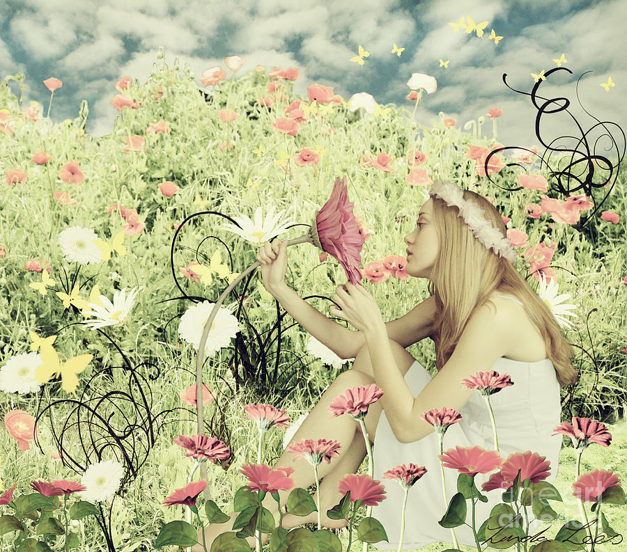 Spring Digital Art - Flora by Linda Lees