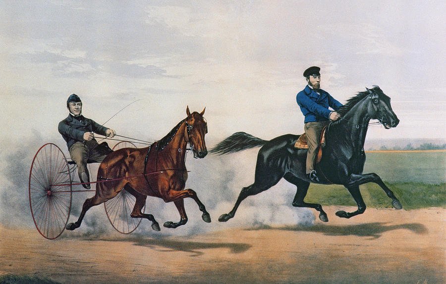 Currier And Ives Painting - Flora Temple And Lancet Racing On The Centreville Course by Currier and Ives