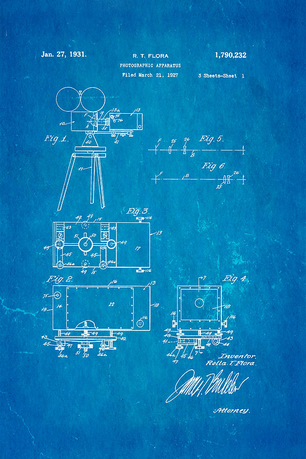 Flora zoom cinema camera patent art 1931 blueprint photograph by ian engineer photograph flora zoom cinema camera patent art 1931 blueprint by ian monk malvernweather Images