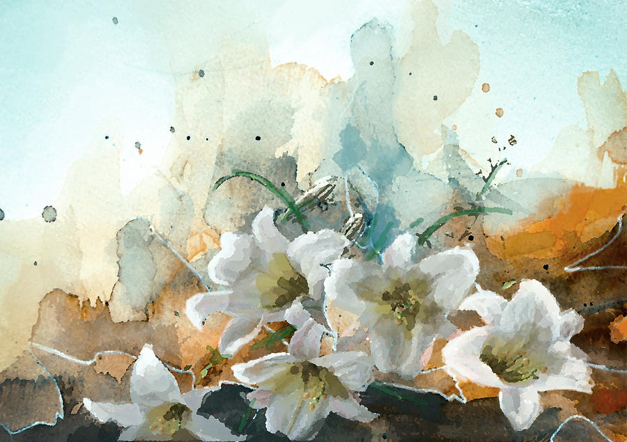 Flower Painting - Floral 14b by Mahnoor Shah