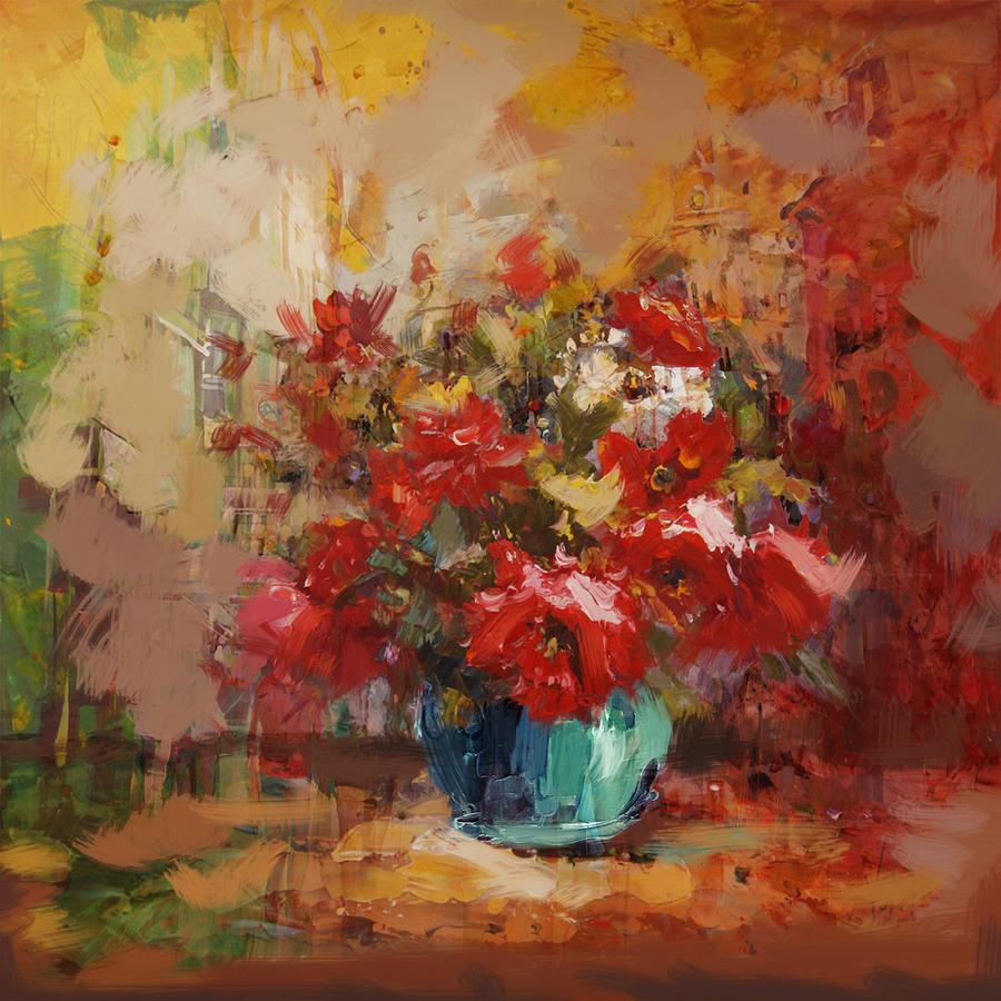 Flower Painting - Floral 16b by Mahnoor Shah