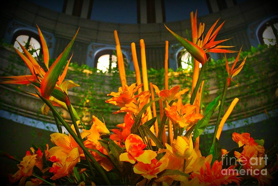 Flowers Photograph - Floral Arragement In Lobby Of The Riu Cancun Hotel by John Malone