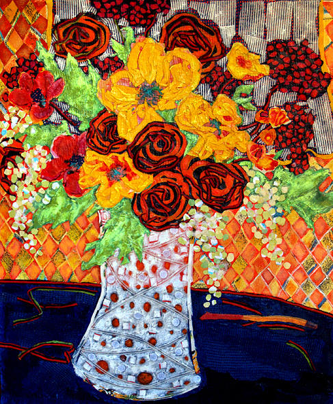 Flowers In A Vase Mixed Media - Floral Arrangement by Diane Fine
