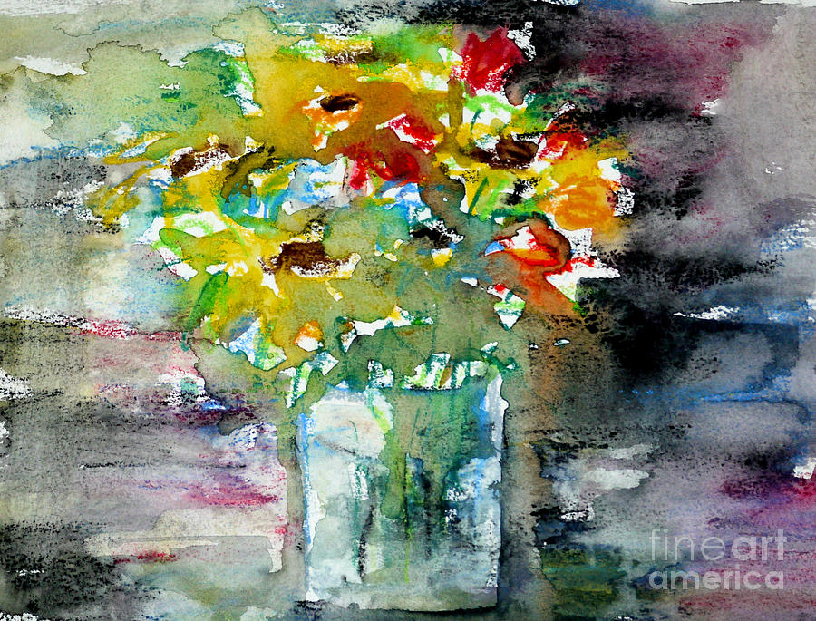 Watercolour Painting - Floral Bouquet In Water Glass by Almo M