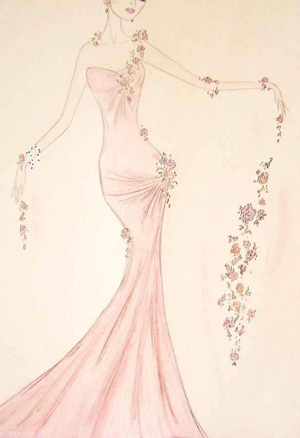 Fashion Illustration Drawing - Floral Cascade  by Christine Corretti