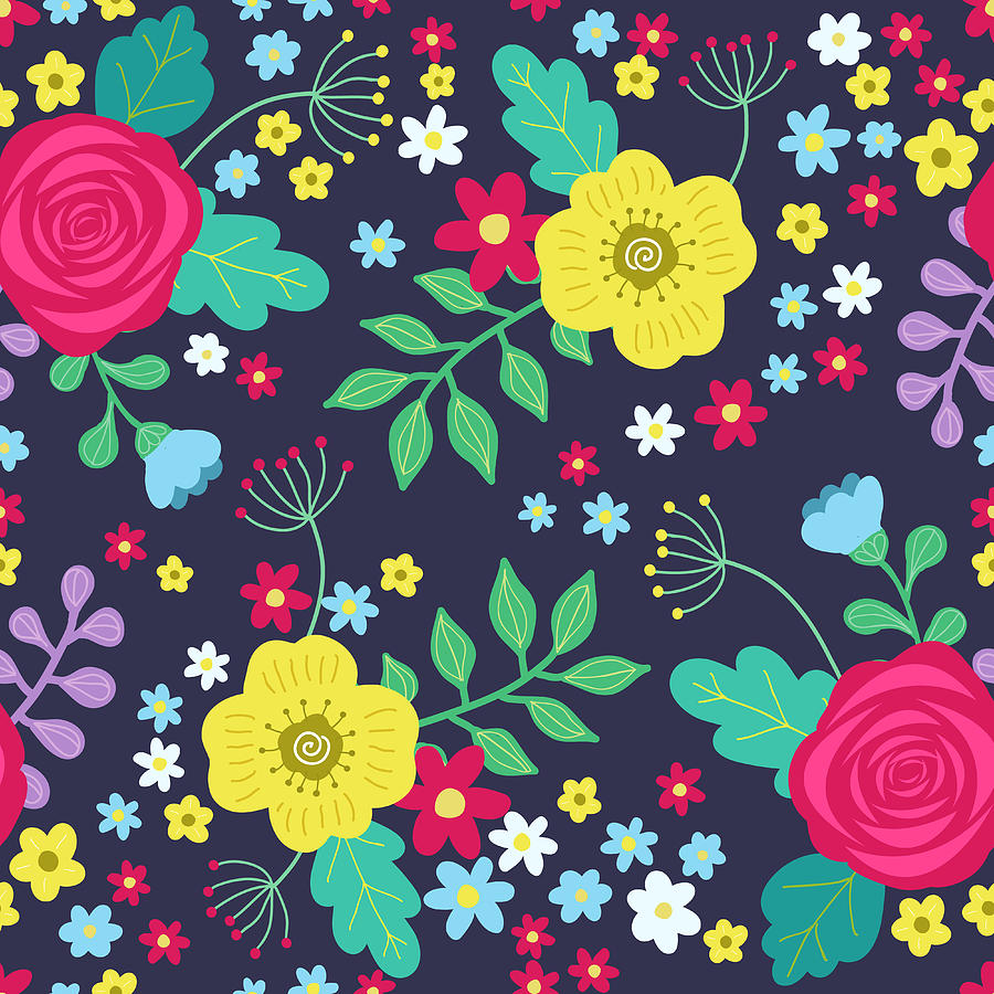 Floral Colorful Seamless Pattern With Digital Art by Ekaterina Bedoeva