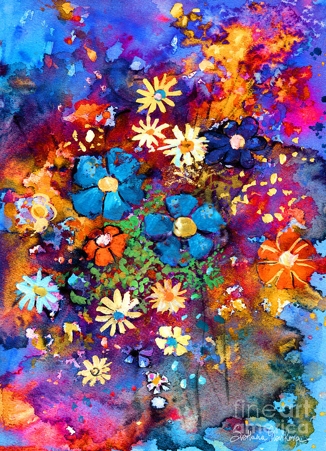 Watercolor Flowers Painting - Floral Dance Fantasy by Svetlana Novikova