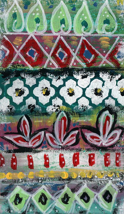 Fiesta Painting - Floral Fiesta- Colorful Pattern Painting by Linda Woods
