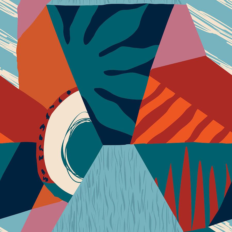 Floral Hawaiian Contemporary Seamless Digital Art by Tasiania