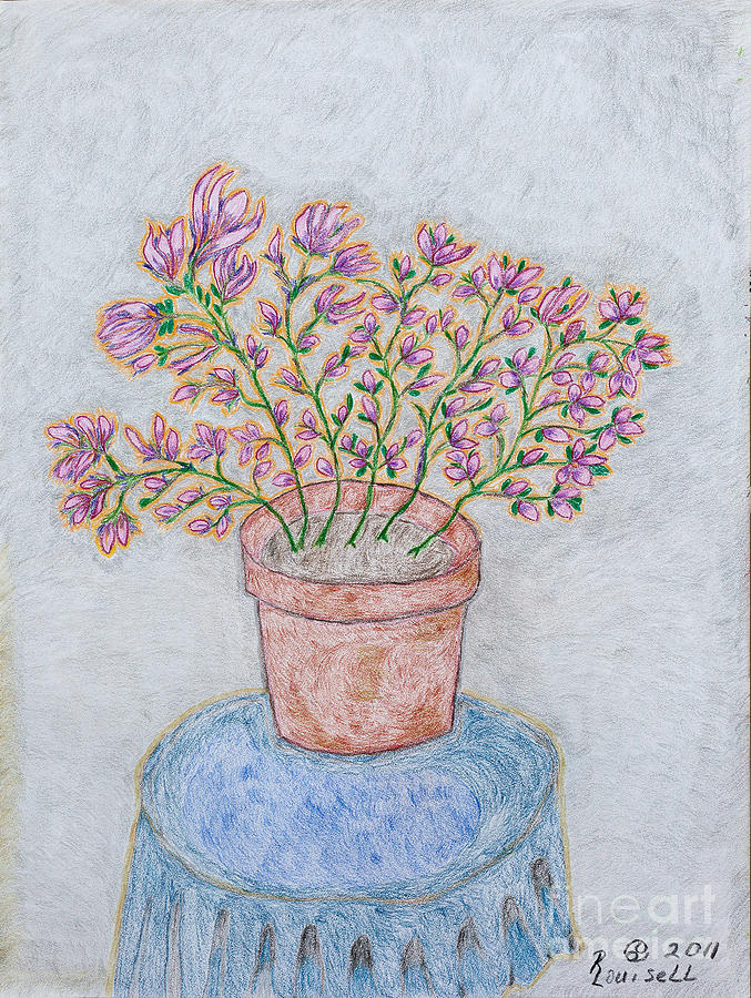 Conte Drawing - Floral Passion by Robyn Louisell