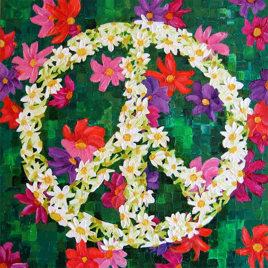 Peace Sign Painting - Floral Peace Pop Art by Wanda Pepin