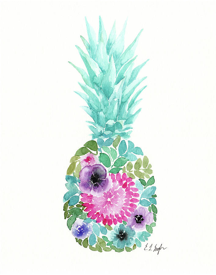 Floral Pineapple Iv Painting by Elise Engh