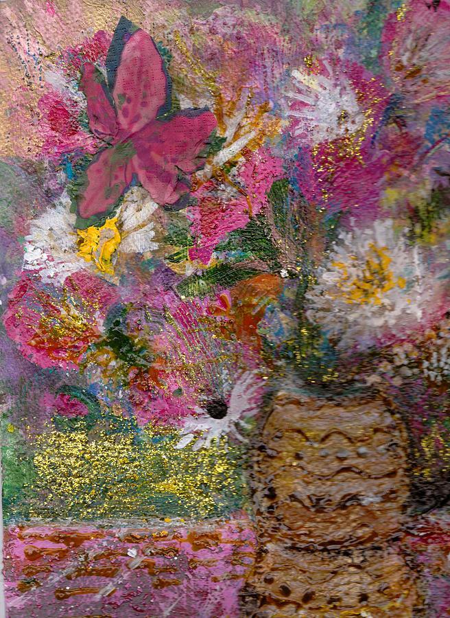 Acylic Painting - Floral Rhapsody Collage by Anne-Elizabeth Whiteway