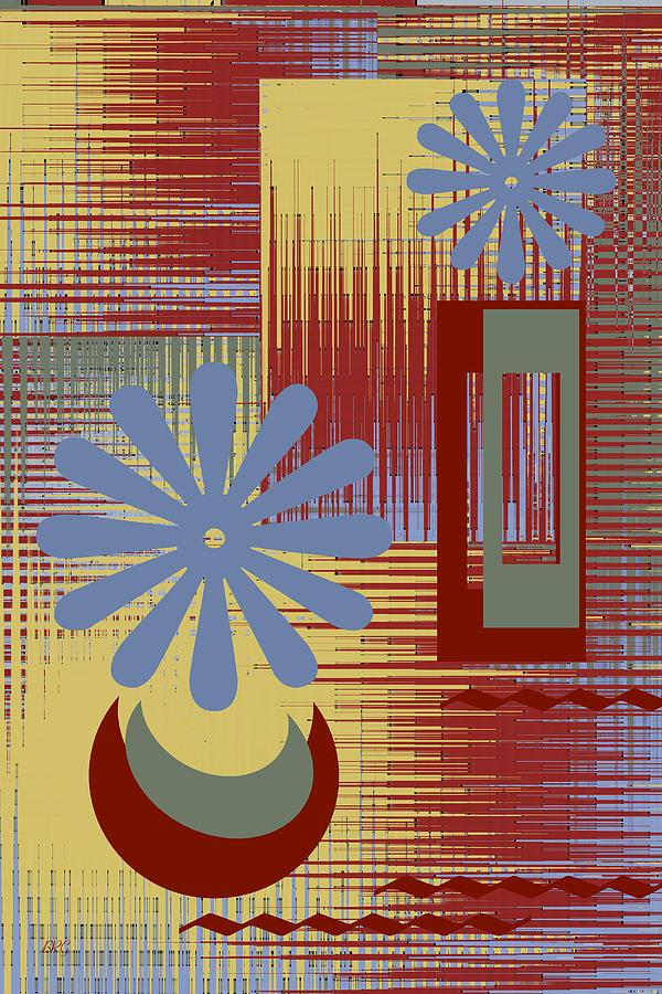 Abstract Still Life Digital Art - Floral Still Life In Red by Ben and Raisa Gertsberg
