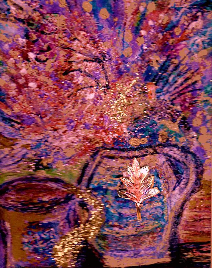 Floral Painting - Floral With Gold Leaf On Vase by Anne-Elizabeth Whiteway