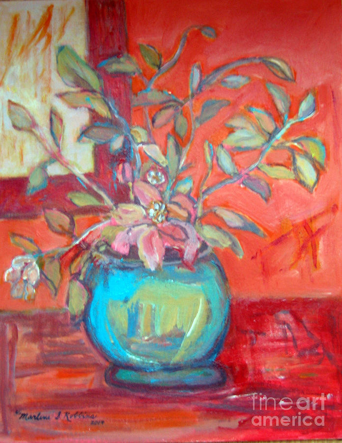 Floral Painting - Floral With Orange Background by Marlene Robbins