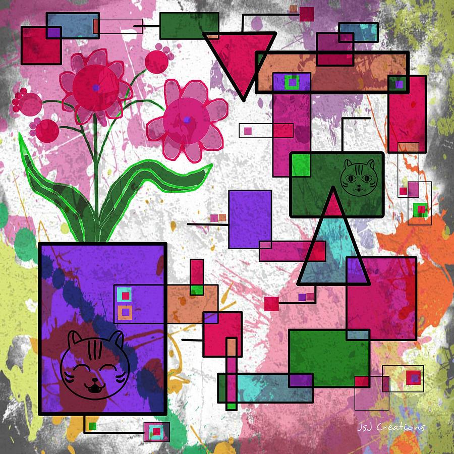 Florals Digital Art - Florals And Pussycats Too by Jan Steadman-Jackson