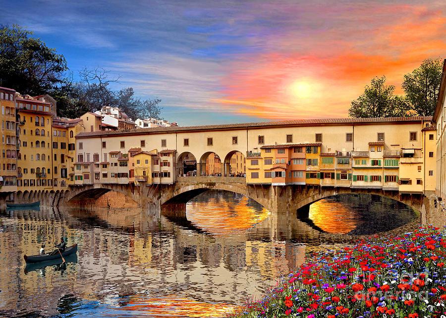 Florence Bridge Digital Art - Florence Bridge by Dominic Davison