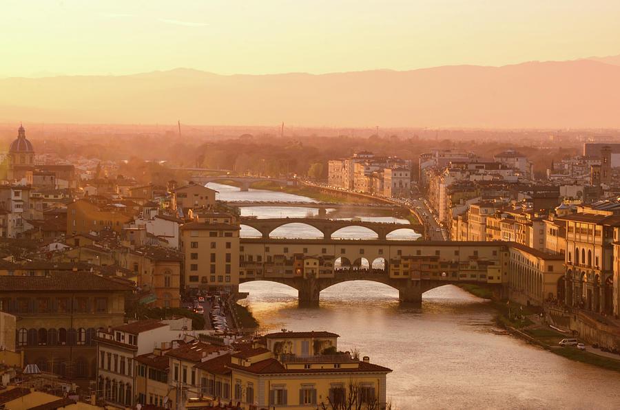 Florence City During Golden Sunset Photograph by Dragos Cosmin Photos