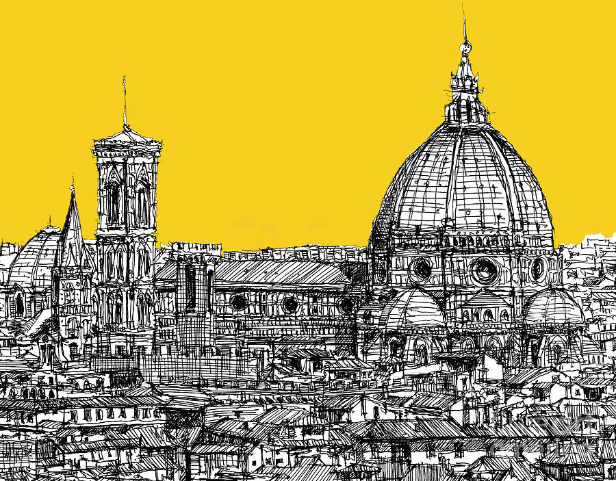 Florence Drawing - Florence Duomo  by Adendorff Design