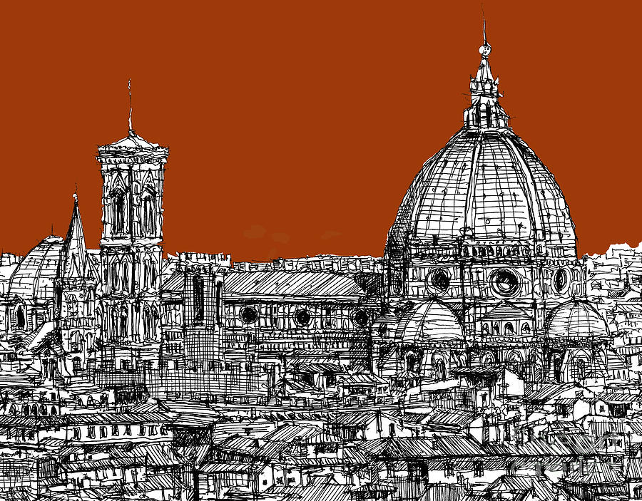 Florence Drawing - Florence Duomo On Sepia  by Adendorff Design