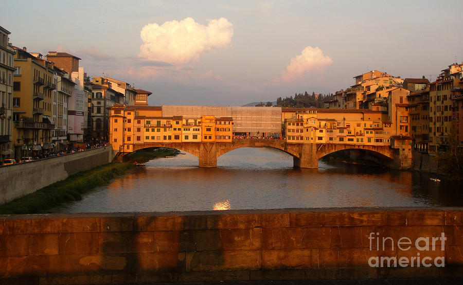 Florence Italy Photograph - Florence Italy - Ponte Vecchio - Sunset - 01 by Gregory Dyer