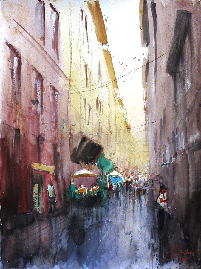 Florence Italy Shopping Downtown Painting By Christopher Clark