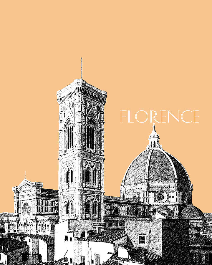 Architecture Digital Art - Florence Skyline Cathedral Of Santa Maria Del Fiore 2 - Wheat by DB Artist