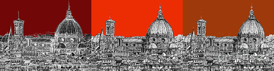 Florence Drawing - Florences Duomo In Oranges by Adendorff Design