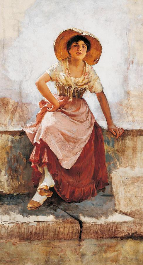 Duveneck Painting - Florentine Flower Girl by Frank Duveneck