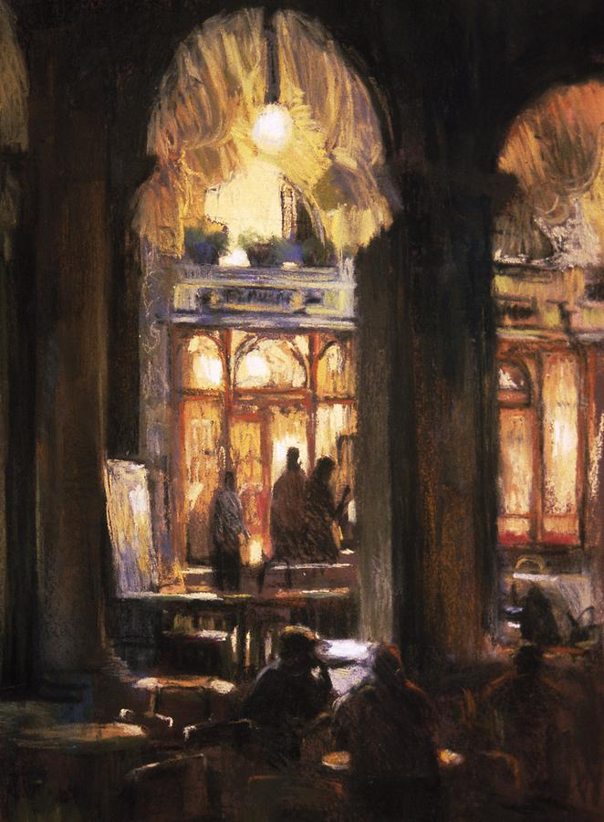 Venice Painting - Florians Cafe Venice by Jackie Simmonds